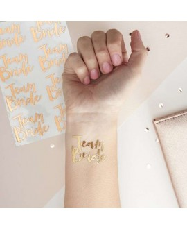 Rose Gold Team Bride Temporary Tattoos - Team Bride