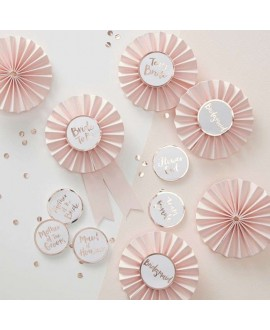 Pink & Rose Gold Hen Party Badges - Team Bride