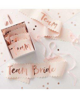 Pink And Rose Gold Team Bride Sashes (6p)- Team Bride