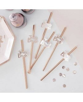 Rose Gold Paper Team Bride Straws