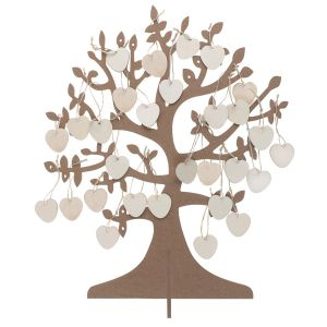Wishes Tree with Wooden Hearts (50 pieces)