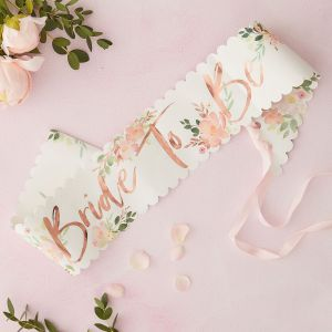 Ginger Ray FH-207 Floral Hen Bride To Be Sash