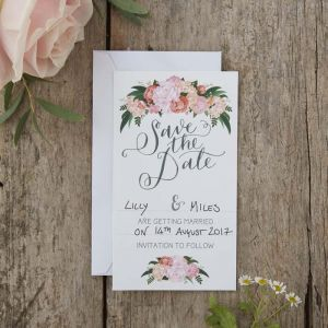 Hand Illustrated Floral Save The Date Cards - Boho