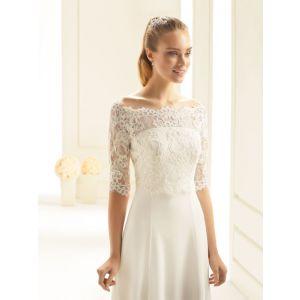 Bolero made of lace with 3/4 sleeves E255 Bianco Evento