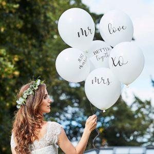 Ginger Ray BR-374 Botanical Wedding Balloons White