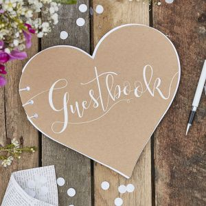 Ginger Ray CW-254 Heart Kraft Guest Book
