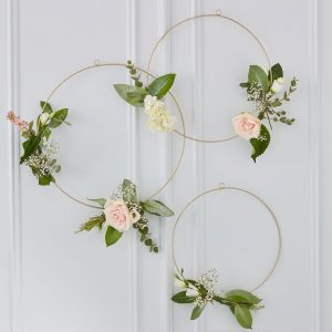 Ginger Ray Gold Wedding Gold Floral Hanging Hoops GO-103