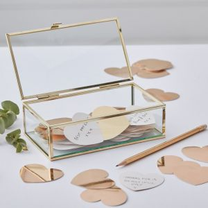 Golden glass box guestbook GO-114 | Ginger Ray Gold Wedding