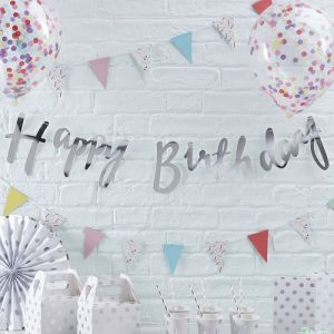Ginger Ray PM-227 Silver Happy Birthday Bunting