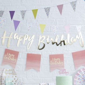 Ginger Ray PM-910 Gold Happy Birthday Bunting