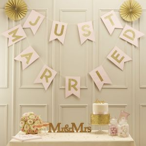 Pink & Gold Just Married Bunting - Pastel Perfection