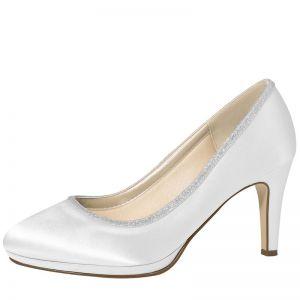 Rainbow Club Wedding Shoes Yanna Pure White Satin