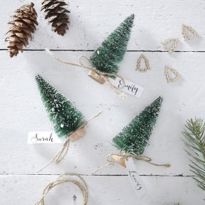 Green Brush Tree Name Place Cards   Rustic Christmas