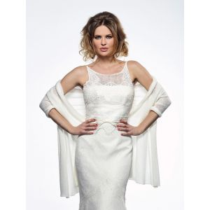 Poirier S167 Knitted Stole Ivory