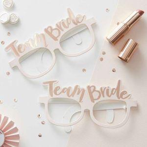 Pink & Rose Gold Team Bride Hen Party Glasses - Team Bride