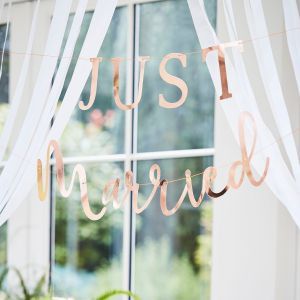 Ginger Ray BR-350 Botanical Wedding Just Married Garland