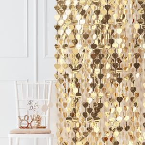 Ginger Ray GO-152 Gold Wedding Gold Heart Backdrop
