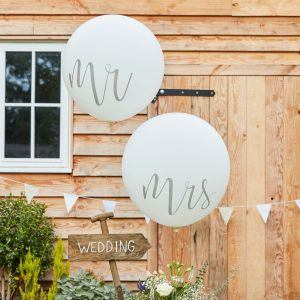 Ginger Ray CW-218 Rustic Country Mr & Mrs Mega Balloons