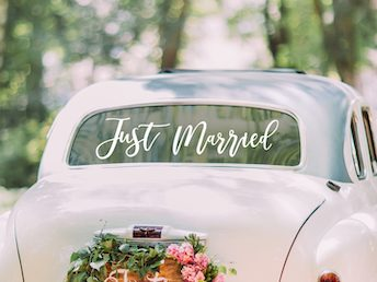 NEW! Just Married Car Sticker